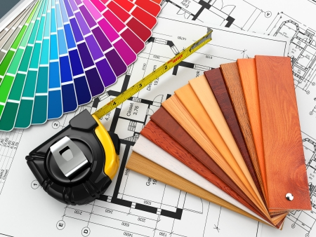 colours: interior design. Architectural materials, measuring tools and blueprints. 3d