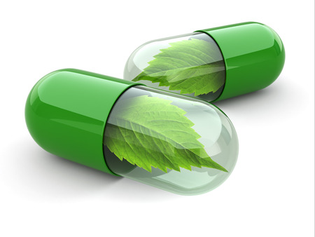 Natural vitamin pills. Alternative medicine. 3d Banco de Imagens