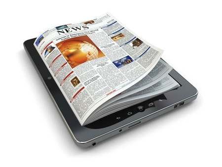 newspaper read: News online concept. Tablet pc and newspaper. 3d