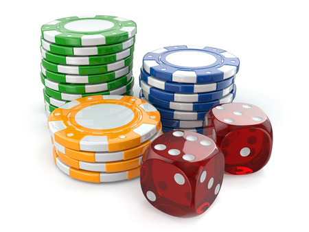 las vegas metropolitan area: Gambling casino. Dice and chips on white isolated background.