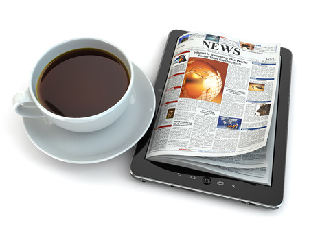 News on tablet pc with coffee cup. 3d photo