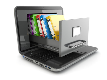 Datenspeicher. Laptop und Aktenschrank mit Ringbindern. 3d