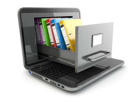 El almacenamiento de datos. Laptop y archivador con carpetas de anillas. 3d