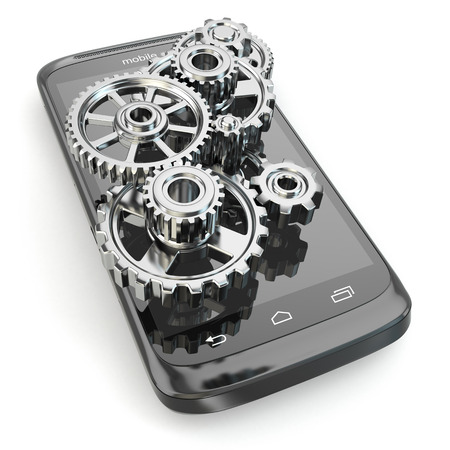 global settings: Settings of mobile phone. Gears on the screen. 3d