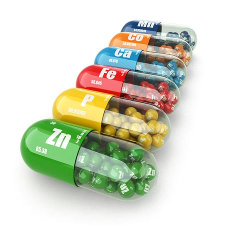Voedingssupplementen. Variety pillen. Vitamine capsules. 3d Stockfoto