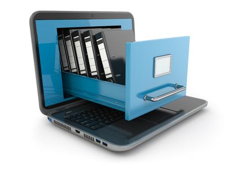 データ ストレージ。ノート パソコンとバインダーのファイル キャビネットです。3 d