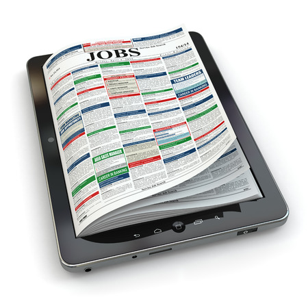 classified ad: Search jobs on newspaper in tablet. Conceptual image. 3d