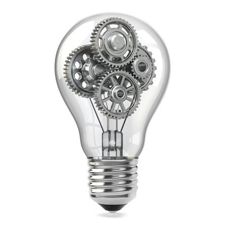 lighting bulb: Lamp bulb and gears. Perpetuum mobile idea concept. 3d
