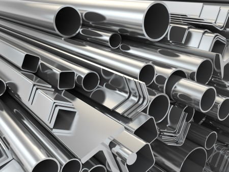 metal industry: Metal profile and pipes on white background. 3d