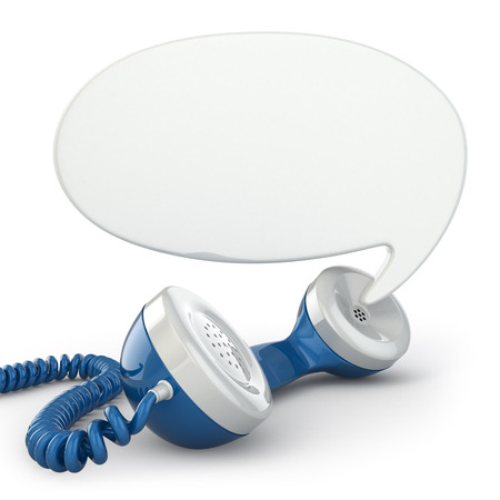 receiver: Telephone receiver and speech bubble. 3d