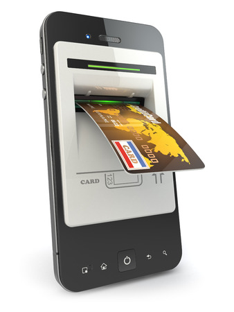 Mobile banking. Mobile phone as atm and credit card. 3d photo