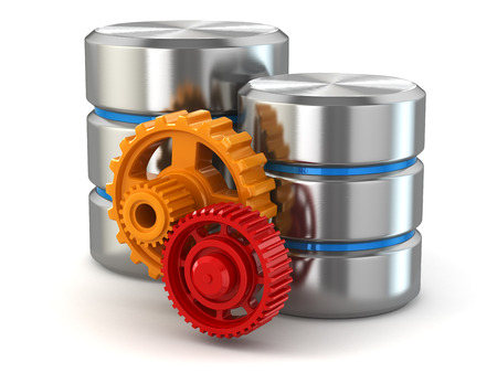 storage disk: Storage administration concept. Database symbol and gears