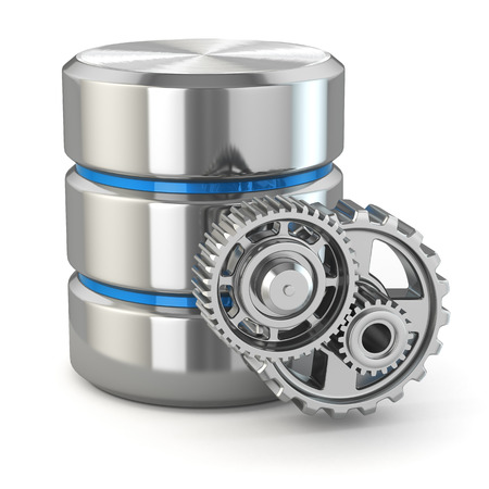 administration: Storage administration concept. Database symbol and gears. 3d