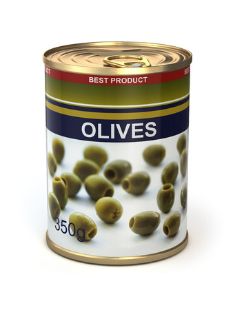 Canned olives on white isolated background. 3d photo