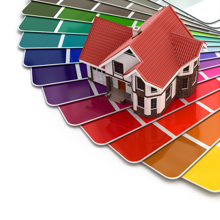 painting and decorating: Construction concept. House and color palette. 3d Stock Photo
