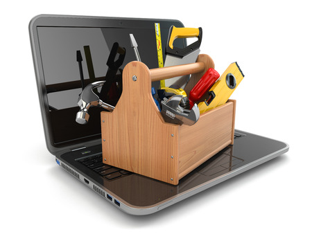 computer problems: Online support. Laptop and toolbox on white isolated background. 3d