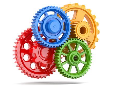 work out: Perpetuum mobile. Color gears on white isolated background. 3d