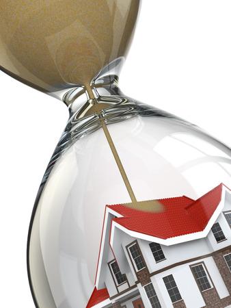 不動産の概念。砂時計とホーム。3 d