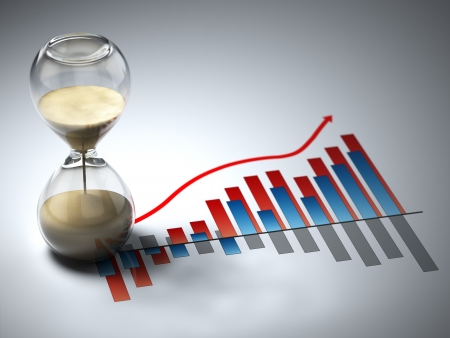 cronografo: Concepto de negocio. Reloj de arena y gr�fico. Imagen tridimensional.