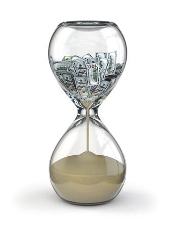 reloj de arena: El tiempo es dinero. Inflación. Reloj de arena y dólar. 3d