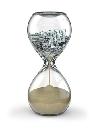 sands of time: Time is money. Inflation. Hourglass and dollar. 3d
