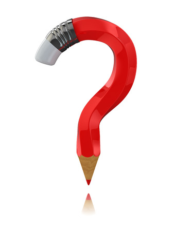 Pencil as question symbol on white isolated background. 3d photo