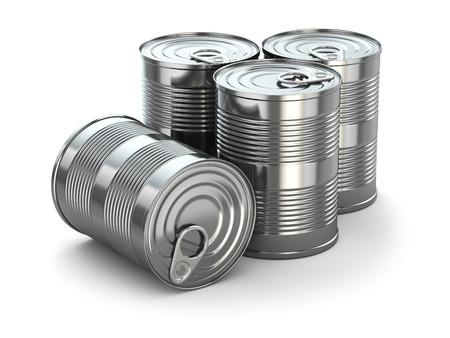 Food tin cans on white isolated background. 3d photo