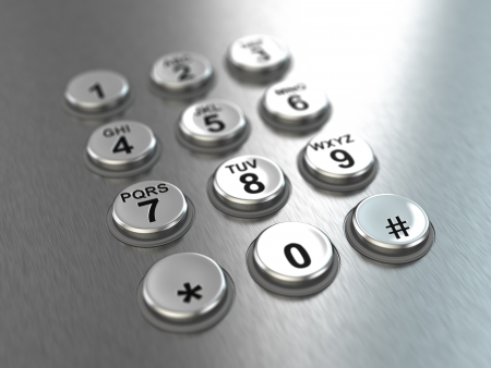 touchtone: Metallic pay phone keypad
