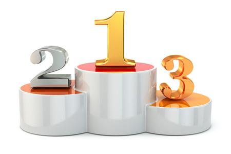 Podium with numbers of places on white isolated background Reklamní fotografie