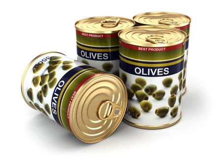 Canned olives on white isolated background photo