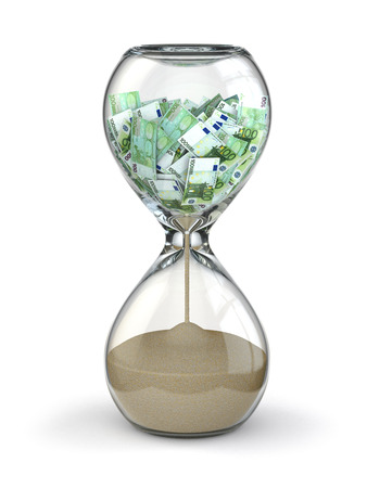 money time: Hourglass and euro