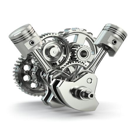 エンジンの概念。歯車とピストン白い背景と分離。3 d。 写真素材