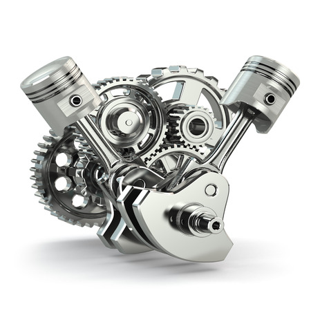 Engine concept. Gears and pistons on white isolated background. 3d.