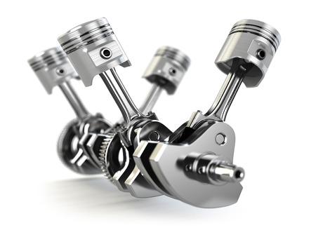 pistones: Pistones del motor V4 y cog Foto de archivo