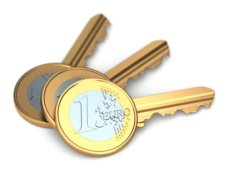 Three euro coin keys on white isolated background. 3d photo