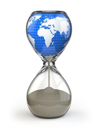 reloj de arena: Tierra en reloj de arena. Destrucción de la imagen conceptual del mundo. 3d