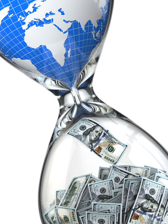 time money: Hourglass, money and earth. Consumption of natural resources. 3d