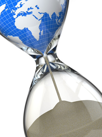 Earth in hourglass. Conceptual image destruction of the world. 3d photo