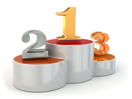 Podium with numbers of places on white isolated background. 3d photo