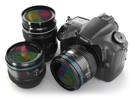 photography themes: Digital slr camera with lens. Photography equipment. 3d