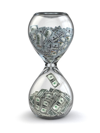 sand dollar: Time is money. Inflation. Hourglass and dollar.  3d