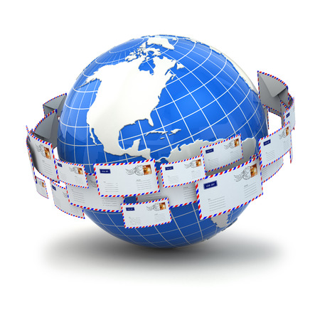 webhost: Concept of mail. Earth and envelopes. 3d