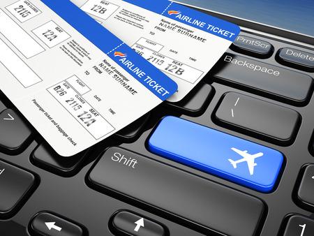 飛行機のチケットをオンライン予約。ノート パソコンのキーボード。 3 d