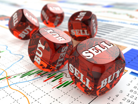dados: Concepto del mercado de valores. Dados en el gráfico financiero. 3d