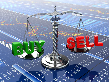 Stock market concept. Scale on financial graph. 3d photo