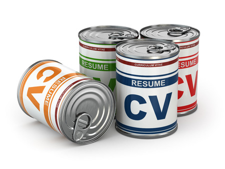 Cv can, Conceptual image of resume. 3d photo