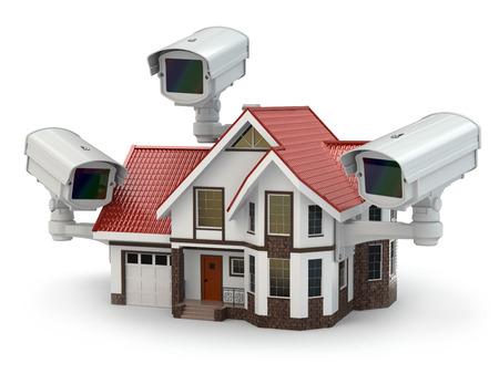 system: Bezpieczeństwo Kamera na budynku. 3d Zdjęcie Seryjne