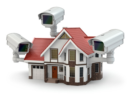 woonwijk: CCTV-camera op het huis. 3d