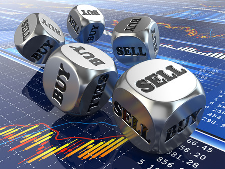 buy sell: Stock market concept. Dice on financial graph. 3d