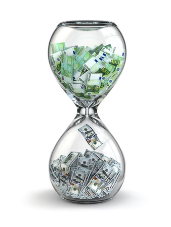 Stock exchange. Hourglass, dollar and euro. 3d